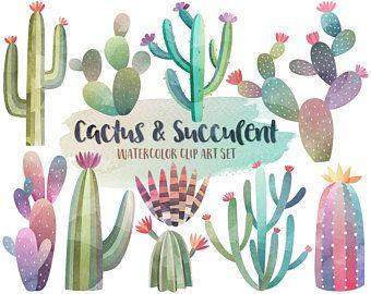 Watercolor sea life hand. Cactus clipart summer