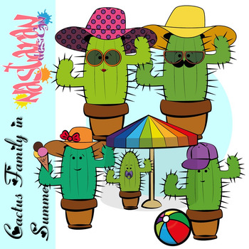Family in . Cactus clipart summer
