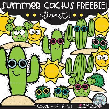 Cactus clipart summer. Freebie