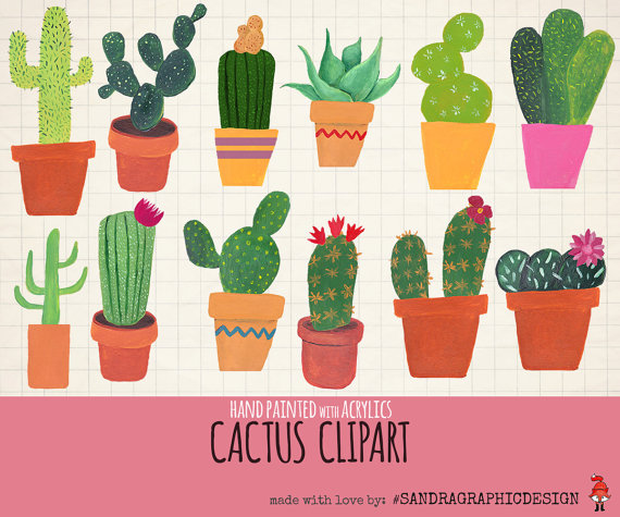 Clip art hand painted. Cactus clipart summer