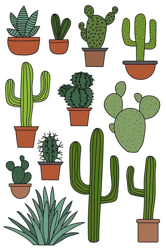 Bushes clipart paint. Cactus set hand drawn