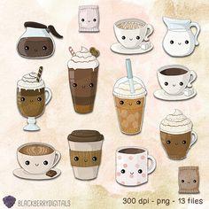 Coffee kawaii mass set. Cafe clipart airport