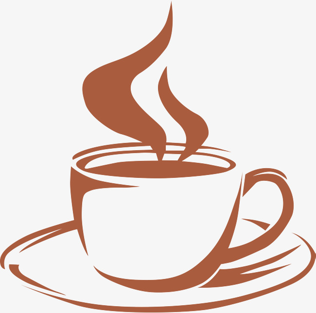 Hand painted coffee cup. Cafe clipart aroma