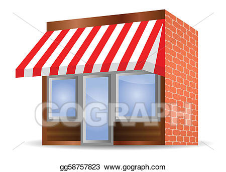 Vector art storefront in. Cafe clipart awning