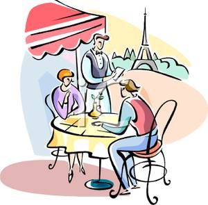 A colorful cartoon of. France clipart bistro french