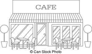 Restaurant building station . Cafe clipart black and white