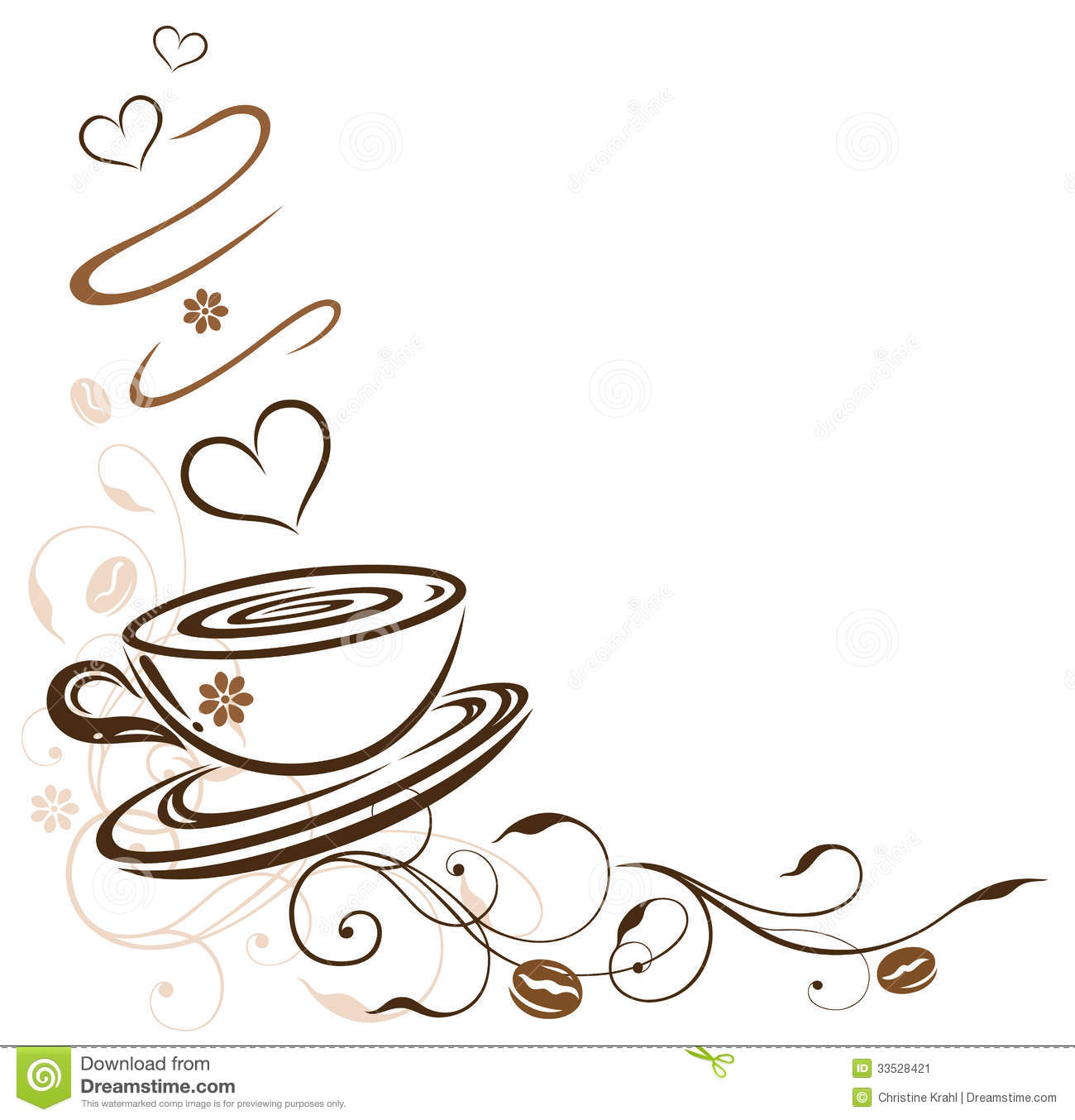 Clipart coffee border. Pencil and in color