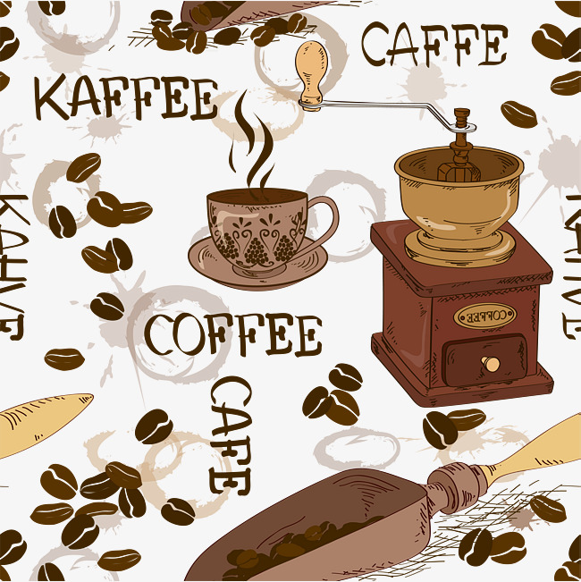 Retro coffee beans grinding. Cafe clipart cafe background