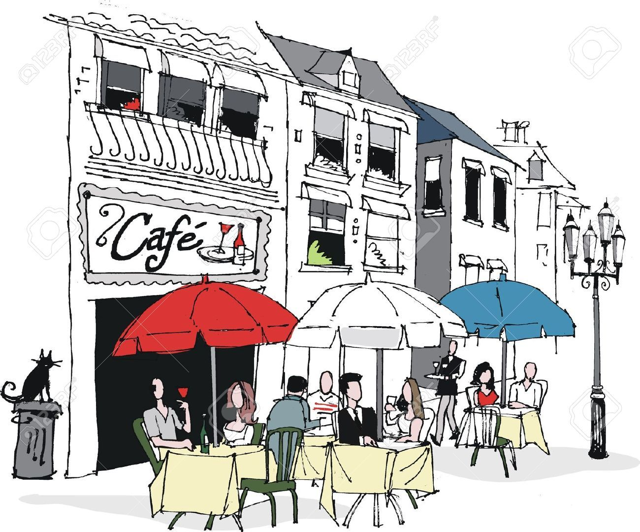 Vector illustration of french. Cafe clipart cafe building