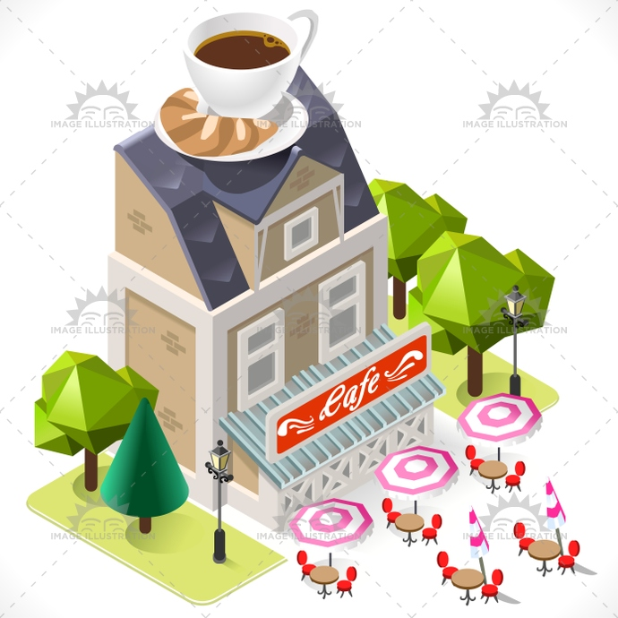 Cafe clipart cafe building. Tint icon isometric image