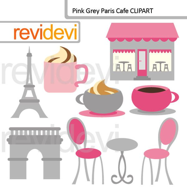 Cafe clipart cafe paris. Pink grey themed cliparts