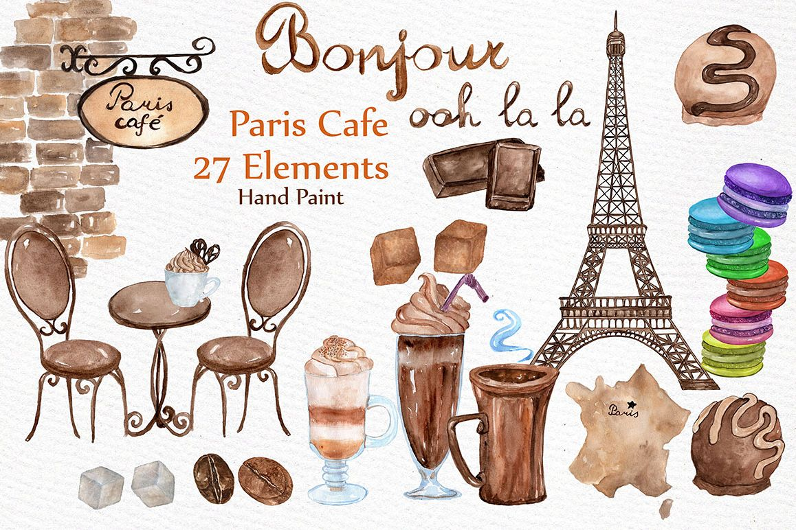 Cafe clipart cafe paris. Watercolor by lecoqd design