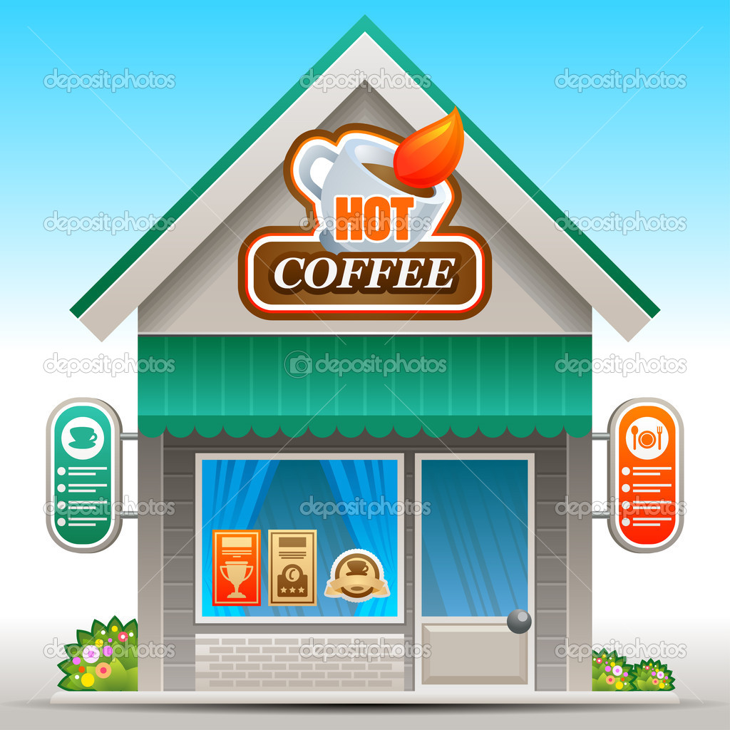 Free for coffee shops. Cafe clipart cafeteria building