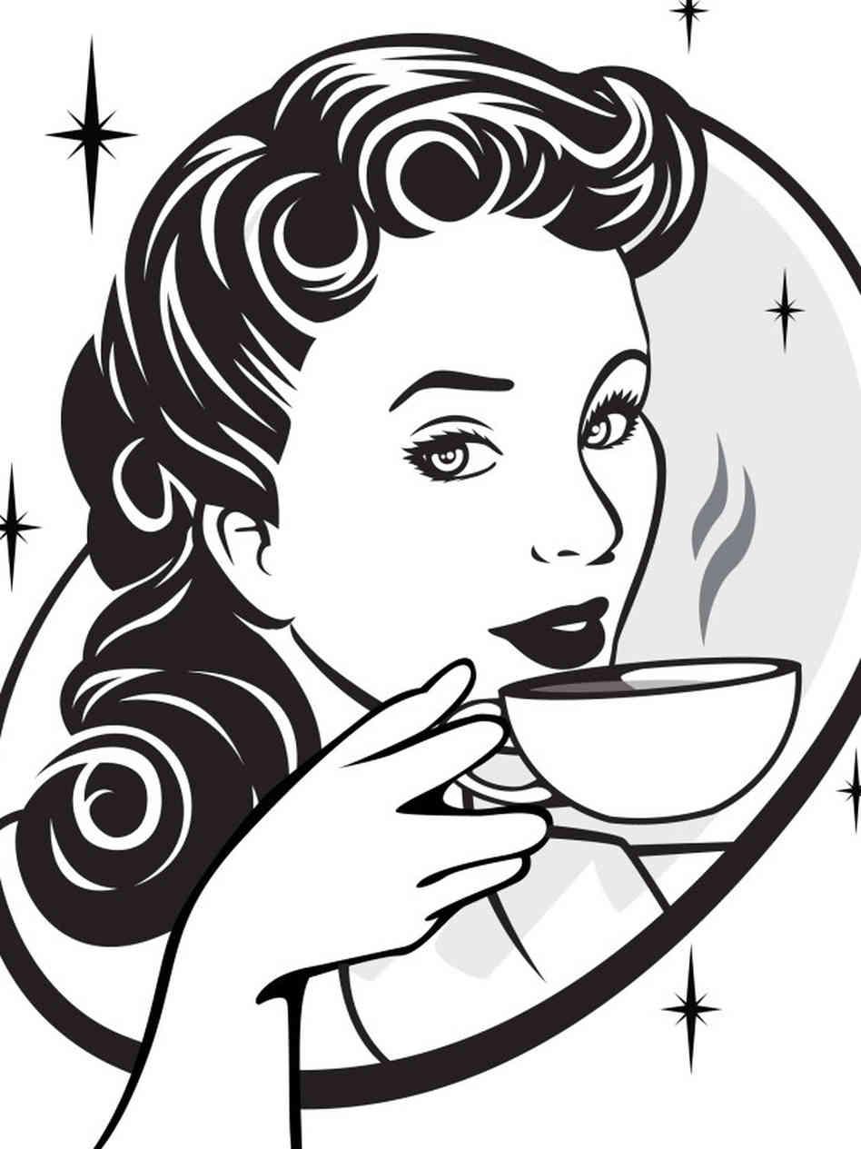 Women drinking panda free. Coffee clipart woman