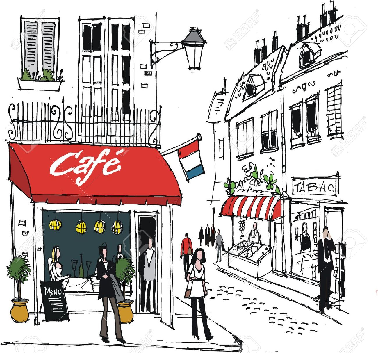 French clipart french cafe.