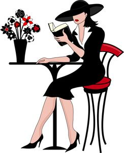 Lady clipart book. Painting of woman reading