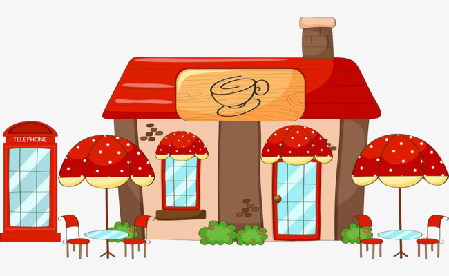 Cartoon material building png. Cafe clipart coffee shop