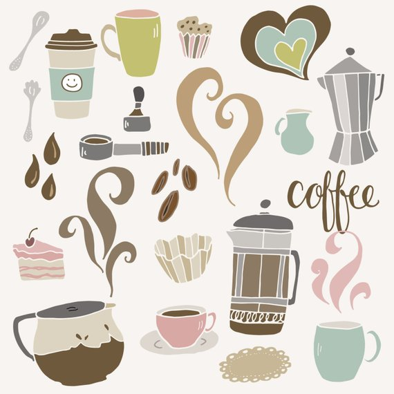 Clip art cute set. Cafe clipart coffee shop