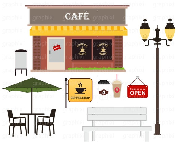 Cafe clipart coffee shop. Vector personal use commercial