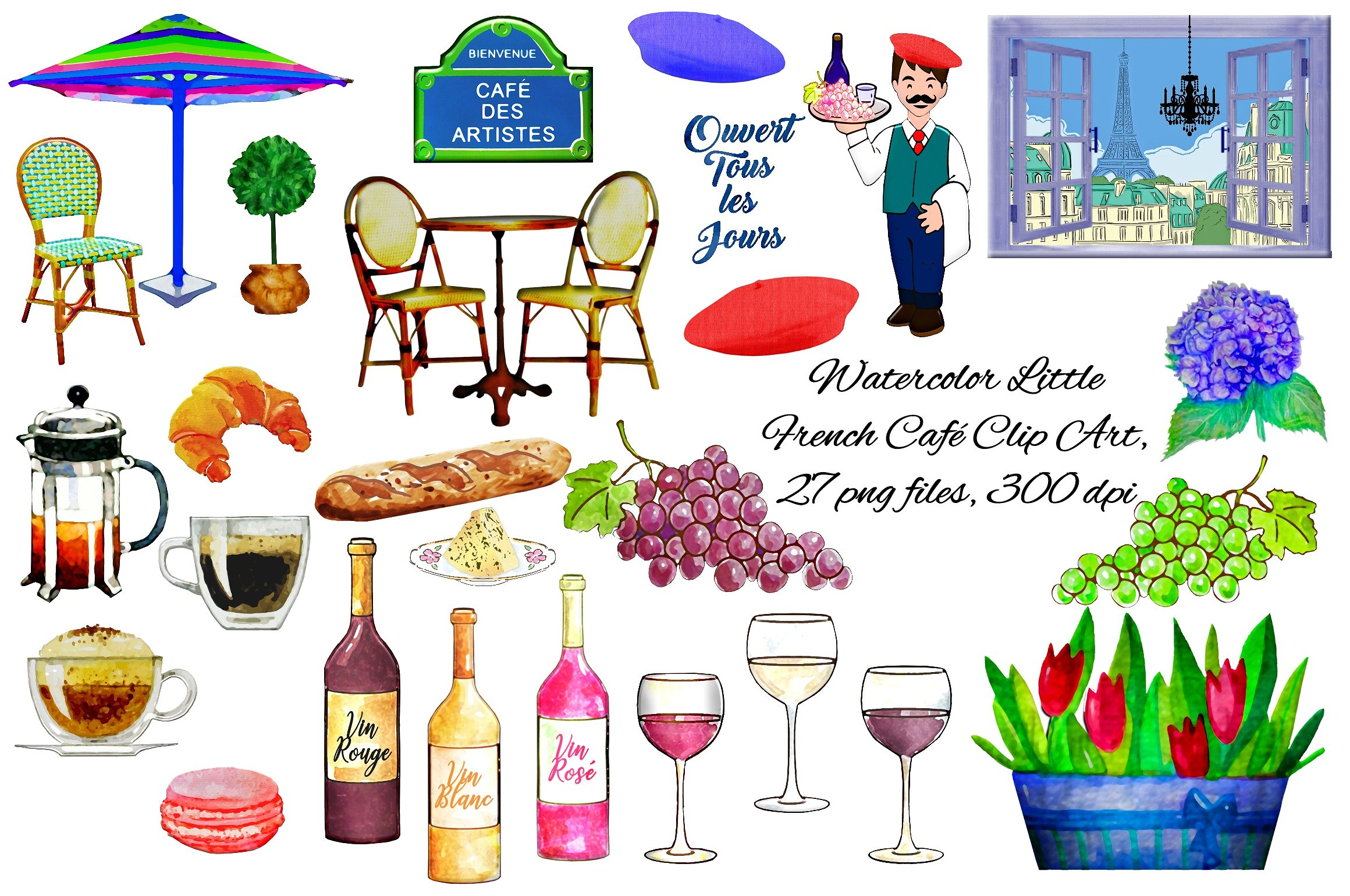 Cafe clipart french cafe. Watercolor caf clip art