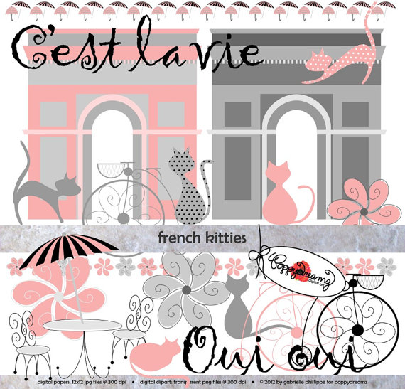 Cafe clipart french cafe. Kitties clip art pack