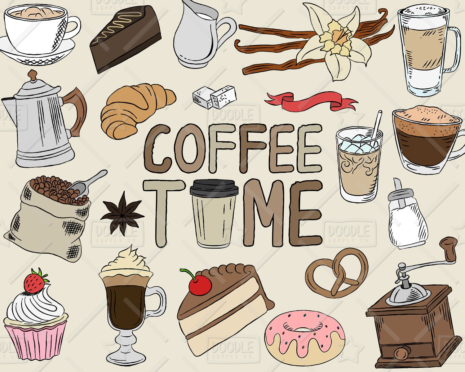 Cafe clipart honeymoon. Coffee vector pack shop