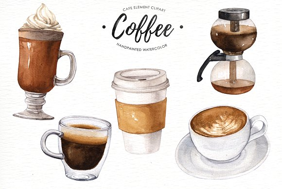 Cafe clipart latte. Coffee watercolor illustrations creative