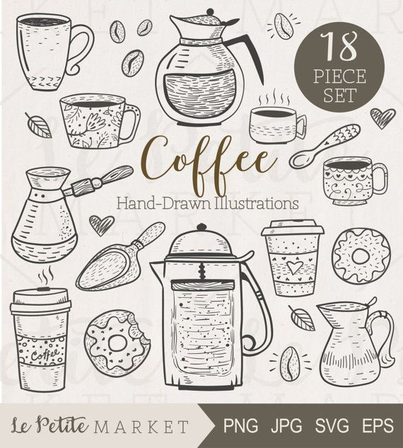 Cafe clipart line art. Cute hand drawn caf