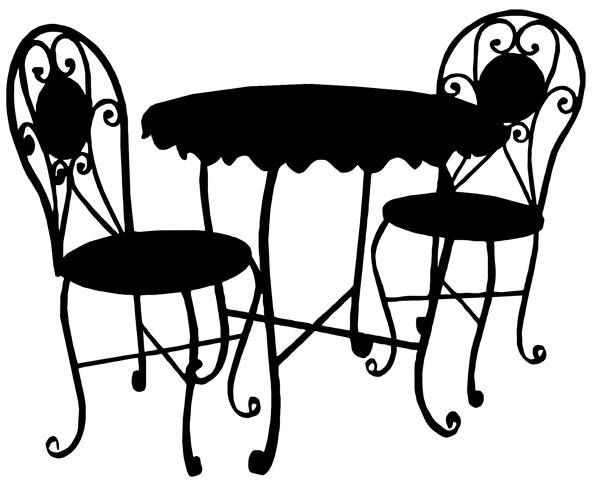 Bistro furniture table chairs. Cafe clipart patio