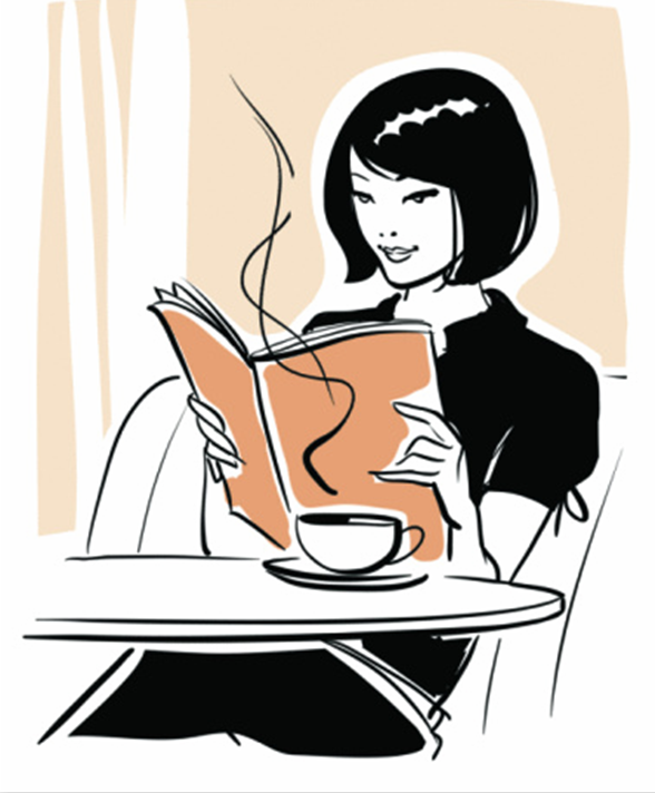 Woman book at caf. Cafe clipart reading cafe