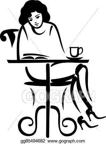 Cafe clipart reading cafe. Vector illustration girl in