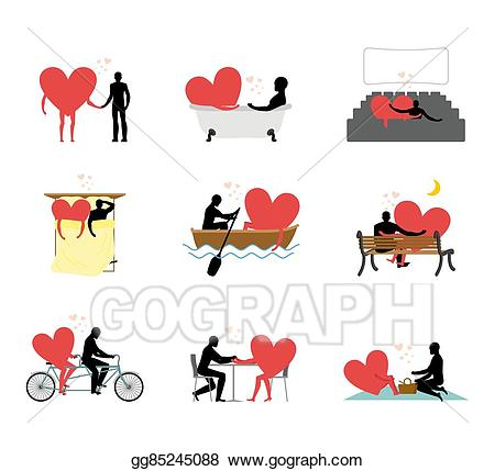 Vector art lovers set. Cafe clipart rendezvous