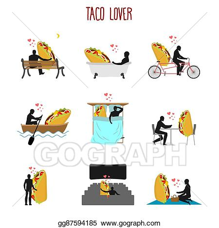 Cafe clipart rendezvous. Vector lover taco set