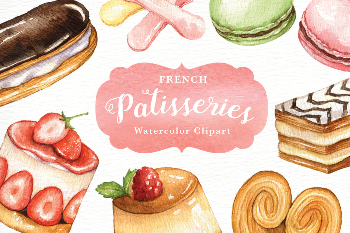 Patisseries watercolor menu sweet. Cafe clipart restaurant french