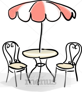 Table with red and. Cafe clipart restaurant french