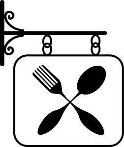 Restaurant image sign featuring. Restaurants clipart spoon fork
