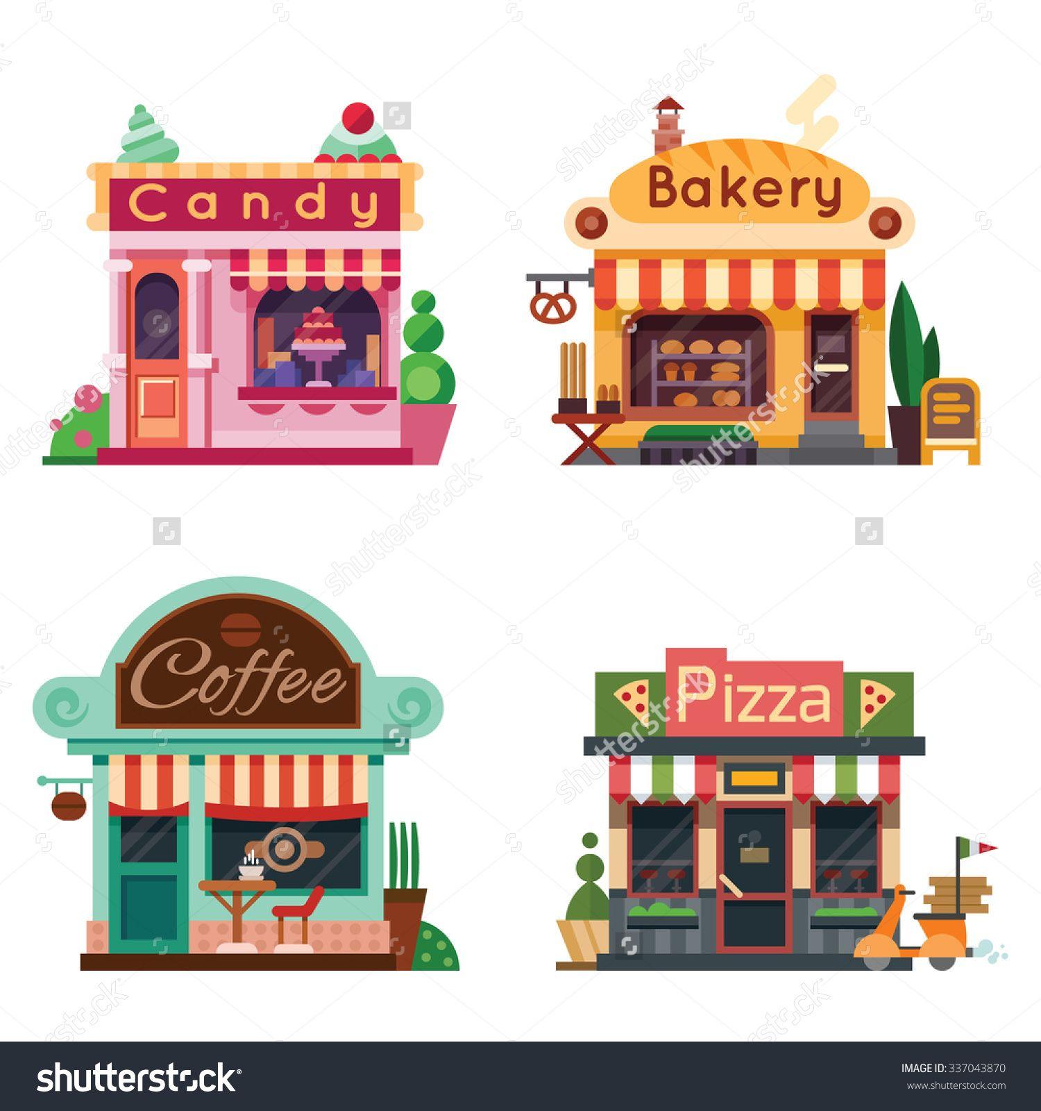 Cafe clipart storefront. Set of nice shops