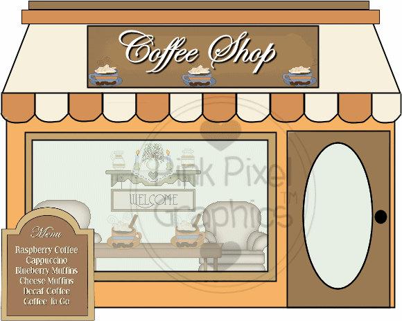 Clip art coffee shop. Cafe clipart storefront
