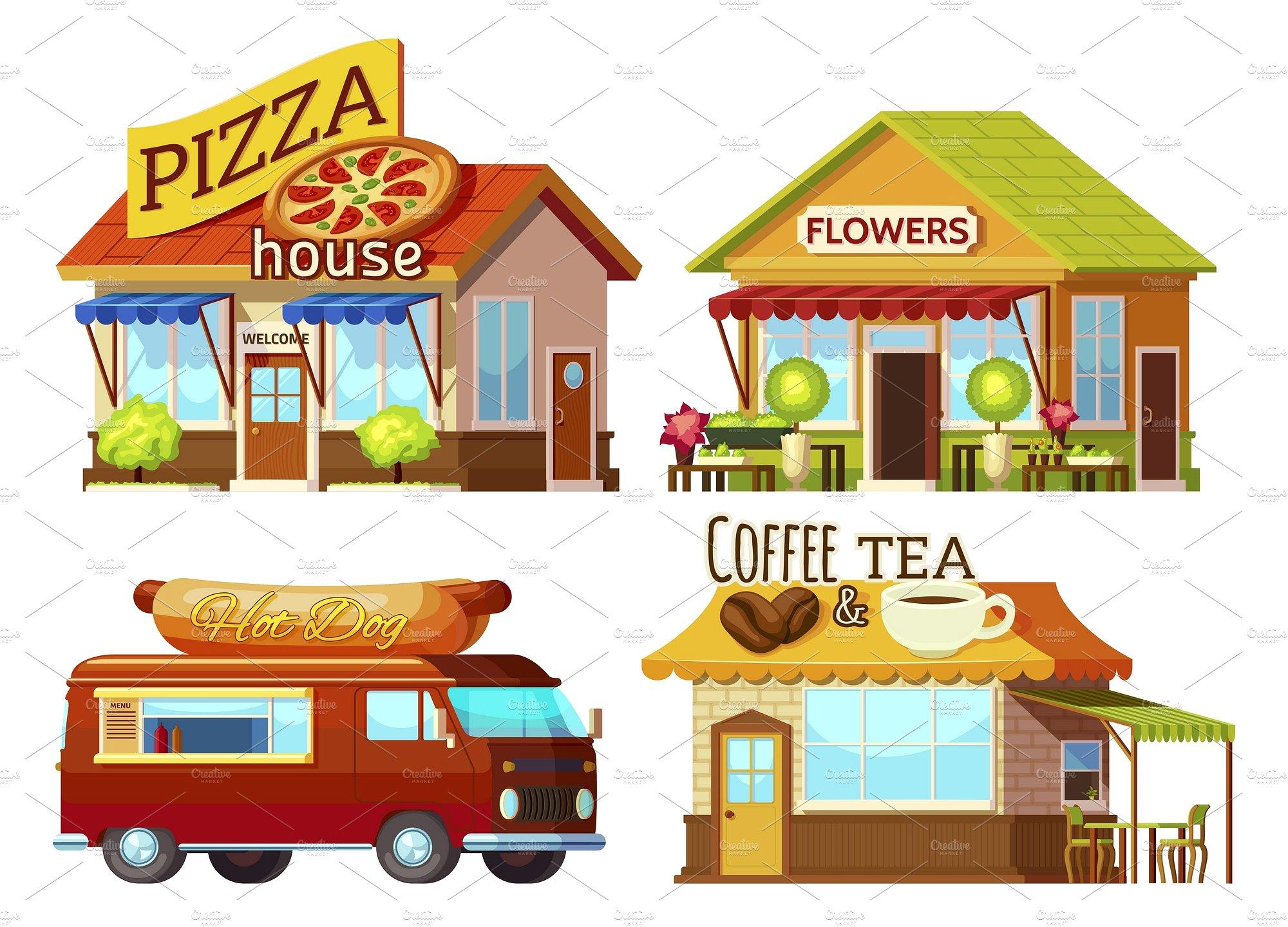 Cartoon storefronts set illustrations. Cafe clipart storefront