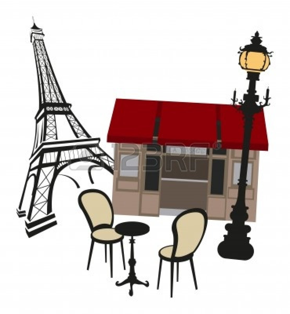 Cafeteria clipart cartoon. Cafe table and chairs