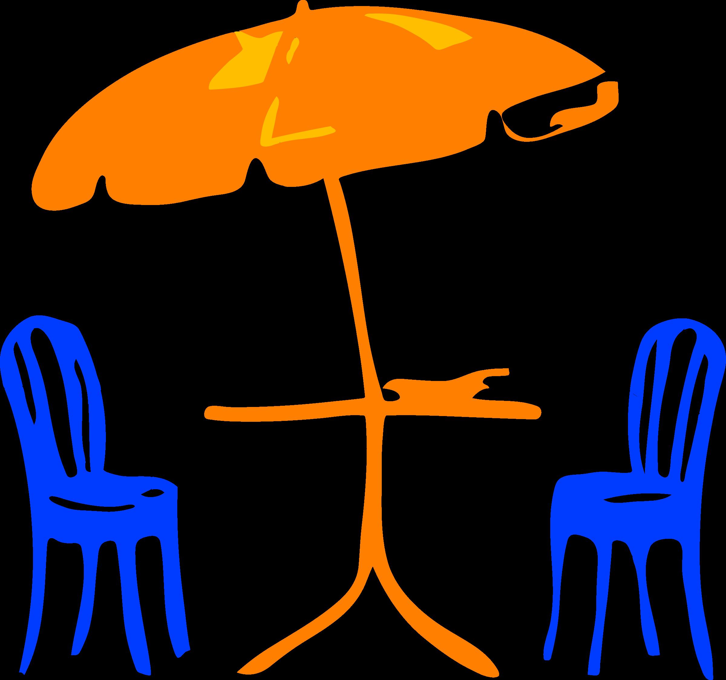 Architetto sedia e ombrelloni. Clipart table cafe table