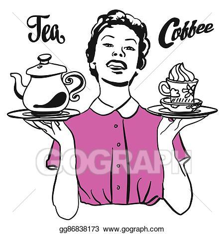 Waitress clipart cafe. Vector illustration vintage presents