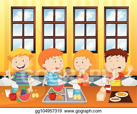 Cafeteria clipart. Vector art children eating