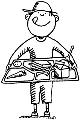 School station . Cafeteria clipart black and white