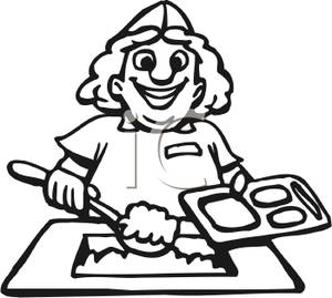 Cafeteria clipart black and white. School station
