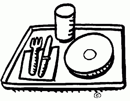 School lunch tray letters. Cafeteria clipart black and white