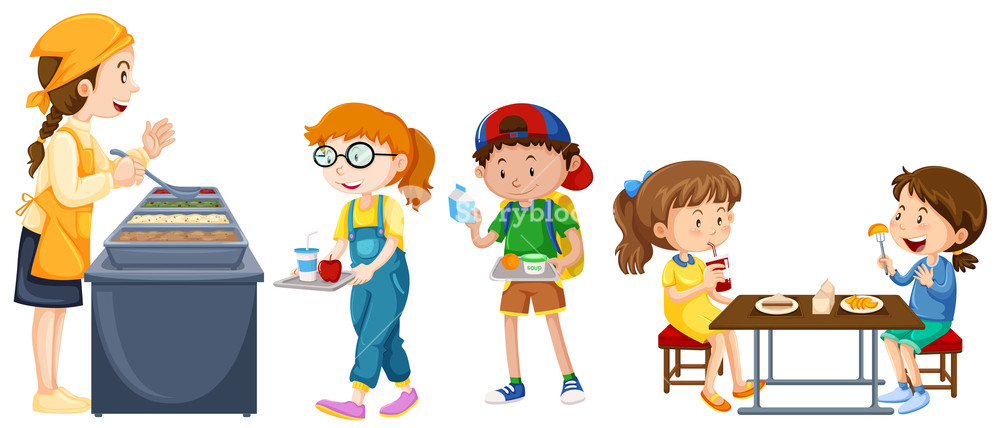 Children eating on table. Cafeteria clipart canteen