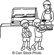 Cafeteria clipart canteen. School black and white