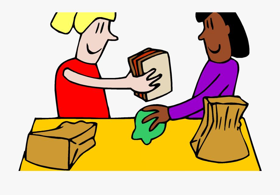 School snack sharing . Cafeteria clipart cartoon