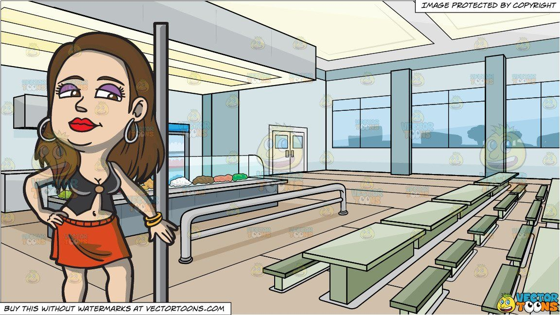 Cafeteria clipart cartoon. A prostitute standing beside